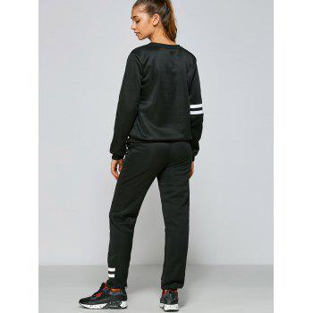 Number and Striped Print Gym Outfits - BLACK S