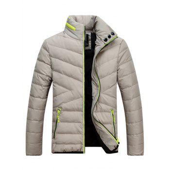 Stand Collar Contrast Zipper Padded Jacket