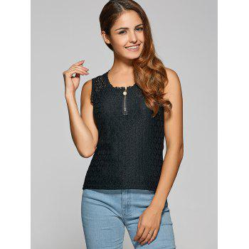 Zipper Design Lace Tank Top