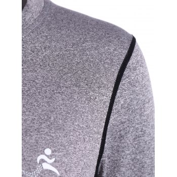 Fit Long Sleeve Gym T-Shirt - GRAY GRAY