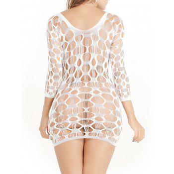 Crochet See Through Lace Dress Tight - Blanc ONE SIZE