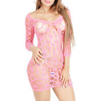 Crochet See Through Lace Dress Tight - Rose Clair ONE SIZE