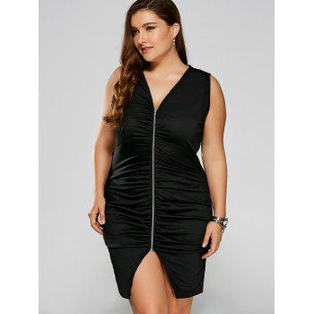 Plus Size Zip Ruched Bandage Club Dress