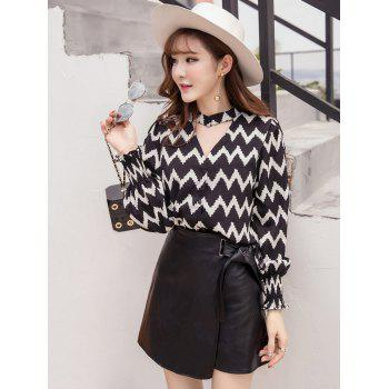 Zigzag Choker Neck Top and PU Skirt