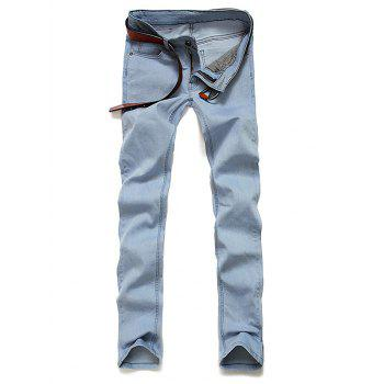 Light Wash Zipper Fly Skinny Jeans