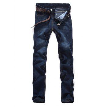 Buy Zipper Fly Dark Washed Mid Waist Jeans DEEP BLUE