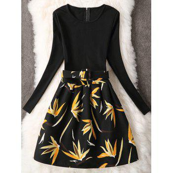 Long Sleeve A Line Leaf Pattern Dress