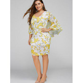 Plus Size Batwing Sleeve Printed Bodycon Dress