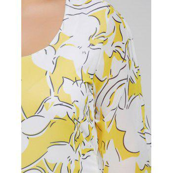 Plus Size Batwing Sleeve Printed Bodycon Dress - YELLOW XL