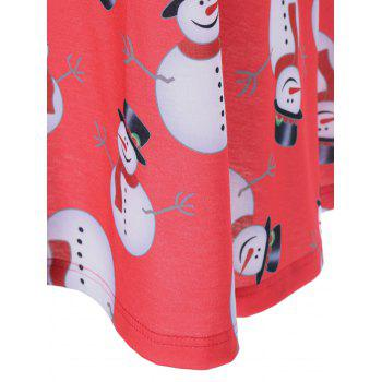 Christmas Snowman Plus Size Trapeze Dress - BLACK/WHITE/RED XL