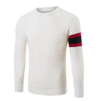 Stripes Pattern Crew Neck Sweater - WHITE 2XL