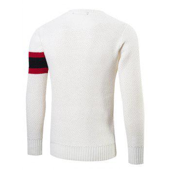 Stripes Pattern Crew Neck Sweater - WHITE WHITE
