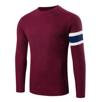Stripes Pattern Crew Neck Sweater - WINE RED WINE RED