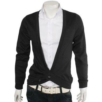 One Button V-Neck Slimming Cardigan - BLACK M