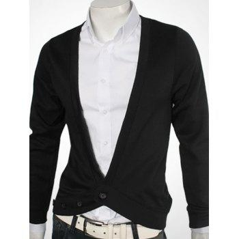 One Button V-Neck Slimming Cardigan - M M