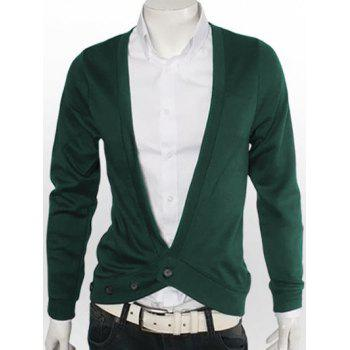 One Button V-Neck Slimming Cardigan - GREEN 3XL
