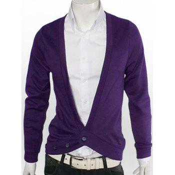 One Button V-Neck Slimming Cardigan - DEEP PURPLE M