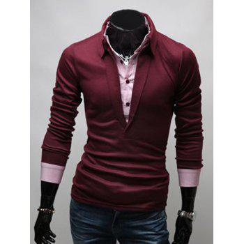 Buy Faux Twinset Turn-Down Collar Long Sleeve Polo T-Shirt WINE RED