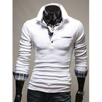 Plaid Splicing Front Pocket Long Sleeve Polo T-Shirt - WHITE L