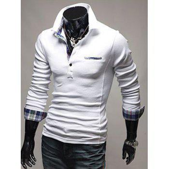 Plaid Splicing Front Pocket Long Sleeve Polo T-Shirt - WHITE WHITE