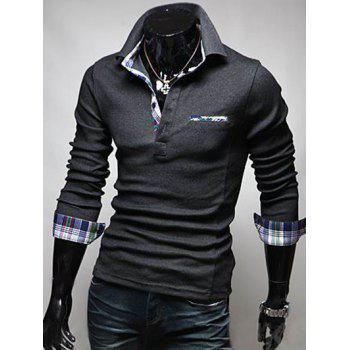 Plaid Splicing Front Pocket Long Sleeve Polo T-Shirt - 2XL 2XL