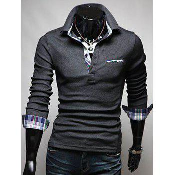 Plaid Splicing Front Pocket Long Sleeve Polo T-Shirt - DEEP GRAY 2XL