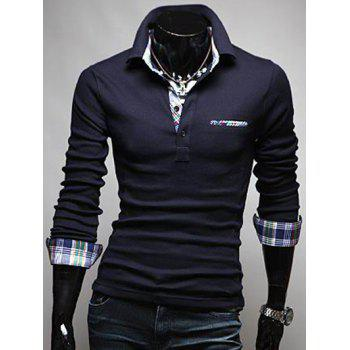 Plaid Splicing Front Pocket Long Sleeve Polo T-Shirt - DEEP BLUE XL