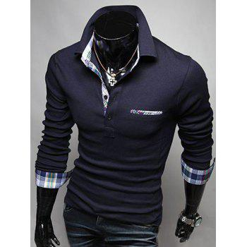 Plaid Splicing Front Pocket Long Sleeve Polo T-Shirt - DEEP BLUE DEEP BLUE