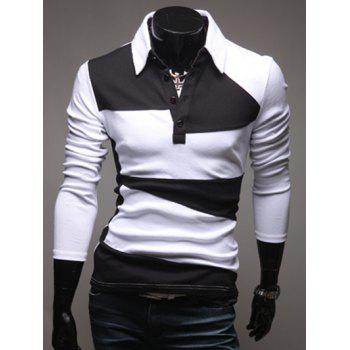 Button Design Long Sleeve Polo Collar T-Shirt