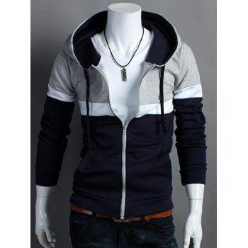 Color Block Hooded Zip Up Long Sleeve Hoodie
