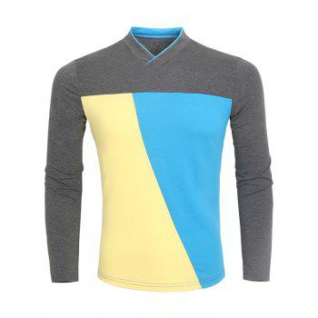 Color Block V Neck Long Sleeve T-Shirt