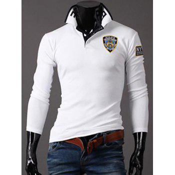Polo Collar Embroidered Long Sleeve T-Shirt