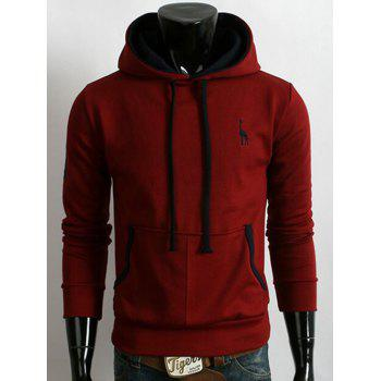 Fawn Embroidered Pocket Pullover Hoodie