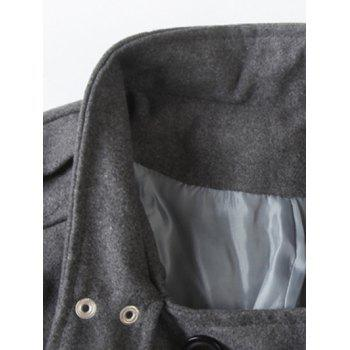 Tournez-Down Neck Pocket Double Breasted Peacoat - Gris 2XL