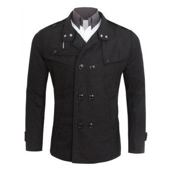 Turn-Down Neck Pocket Double Breasted Peacoat