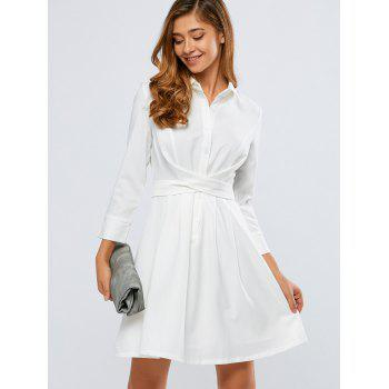 Self-Tie Buton Up Flare Shirt Dress