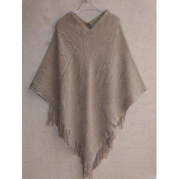 V Neck Asymetrical Cape Sweater