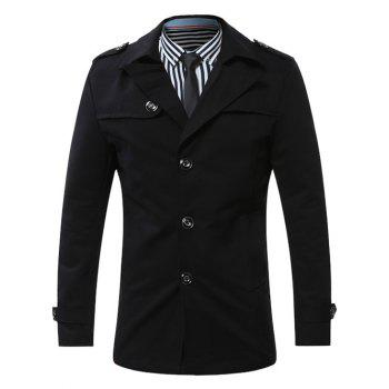 Epaulet Turn-Down Collar Single-Breasted Coat