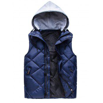 Argyle Pattern Zip-Up Hooded Down Waistcoat