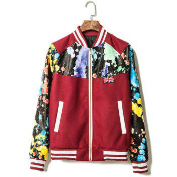 Zip Up Paint Splash Printed PU Leather Insert Jacket