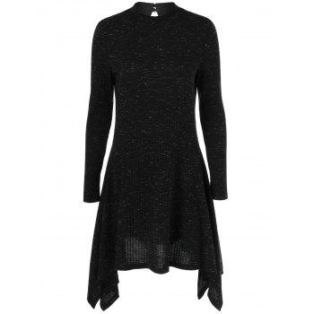 Ribbed Asymmetrical Long Sleeve Skater Sweater Dress - BLACK M