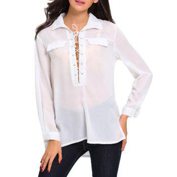 Lace Up Long Sleeve High Low Shirt