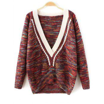 Plunging Neck Space-Dyed Sweater