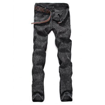 Buy Zipper Fly Snow Washed Mid Waist Jeans GRAY