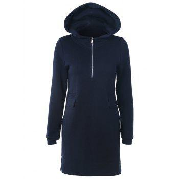 Casual Long Sleeve Zipper Mini Hoodie Dress