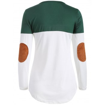 Color Block Elbow Sleeve T Shirt - BLACKISH GREEN S