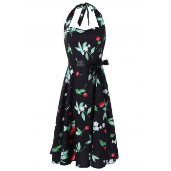 Vintage Halter Cherry Print Dress - FLORAL FLORAL