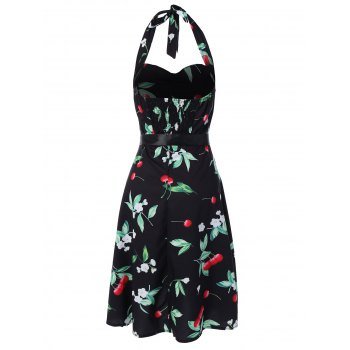 Vintage Halter Cherry Print Dress - FLORAL M