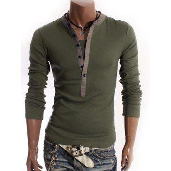 V-Neck Long Sleeve Half Button Embellished T-Shirt - ARMY GREEN 2XL