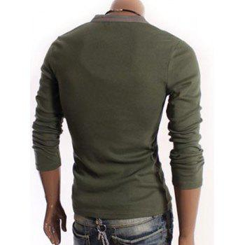 V-Neck Long Sleeve Half Button Embellished T-Shirt - ARMY GREEN ARMY GREEN
